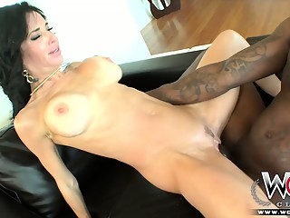 Horny cougar with big tits squirts over a BBC
