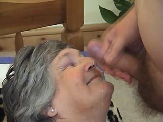 75 years old Greedy Grandma Libby 3some