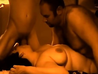 Chubby wife and husband in their first threeway sex