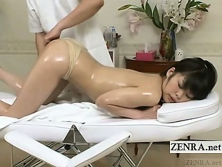 Subtitled topless Japanese schoolgirl all fours massage