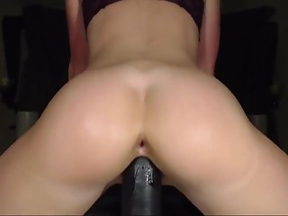 Slutty Stepsister recorded with a Huge thick black dildo
