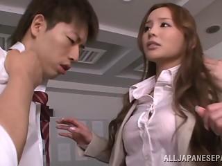 Shameless Japanese teacher Emiri Okazaki has sex with guys