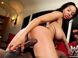 Phat ebony babe enjoying a big black cock